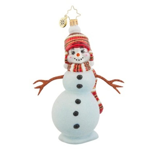 Christopher Radko Glass Country Frost Snowman Christmas Ornament #1017989 - WHITE