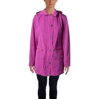 Lauren Ralph Lauren Womens Basic Jacket Hooded Mock Neck