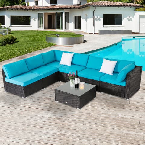 Kinbor 7-piece Outdoor Cushioned Wicker Patio Furniture Set