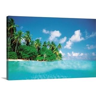 """Palm trees on beach"" Canvas Wall Art"