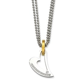 Chisel Stainless Steel IPG 24k Plating Circle & Heart with CZs 22 Inch Necklace (2 mm) - 22 in