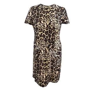 Calvin Klein Women's Plus Size Leopard-Print Shift Dress - Camel Multi