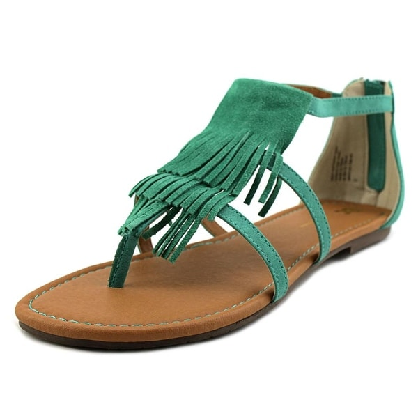 BC Footwear Maltese Women Open Toe Leather Green Thong Sandal