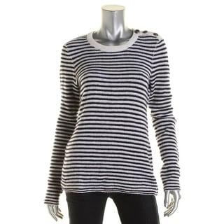 Aqua Womens Cashmere Striped Crewneck Sweater