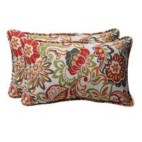 "Set of 2 Eco-Friendly Rectangular Tropical Floral Outdoor Throw Pillows 18.5"" - Multi"