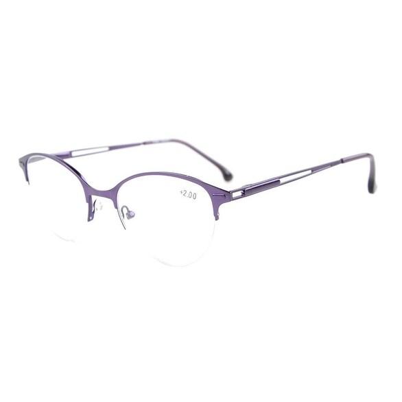 Eyekepper Quality Spring Hinges Half-Rim Cat-eye Style Reading Glasses Purple +0.00