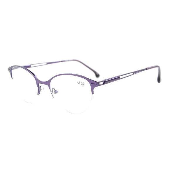 Eyekepper Quality Spring Hinges Half-Rim Cat-eye Style Reading Glasses Purple +3.50