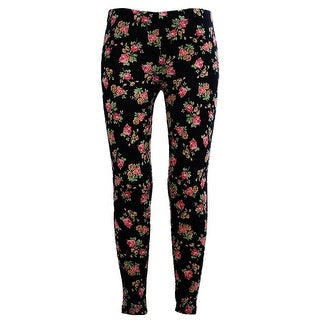 Girls Stretchy Leggings Trousers Black Rose