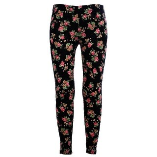 Girls Stretchy Leggings Trousers Black Rose