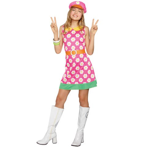 Dreamgirl Girly A-Go-Go Child Costume - Pink/White