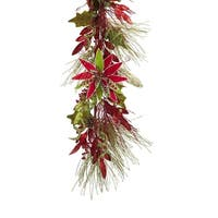 """Pack of 2 Blossoming Spring and Summer Long Pine Needle Garland with Poinsettia 68"""" - Unlit - green"""