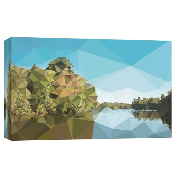 """PTM Images 9-103720 PTM Canvas Collection 8"""" x 10"""" - """"Fractal Lakeside"""" Giclee Forests Art Print on Canvas"""