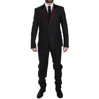 Dolce & Gabbana Gray 3 Piece Slim Fit Suit Tuxedo Smoking - it52-xl