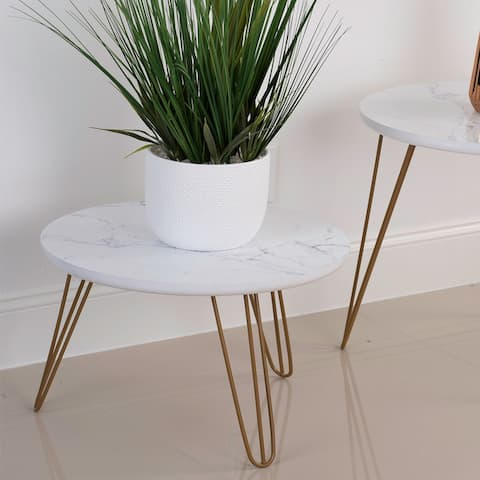 Kara 18-inch Round Faux-Marble End Table with Hairpin Iron Legs