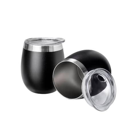 Monoprice Wine Tumbler 9 fl. oz. Twin Pack - Black