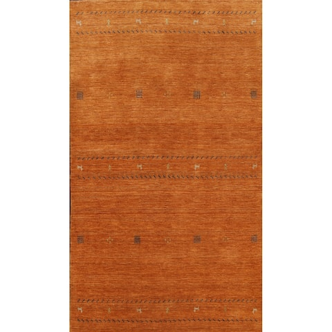 """Tribal Contemporary Oriental Gabbeh Area Rug Hand-knotted Wool Carpet - 4'11"""" x 7'9"""""""