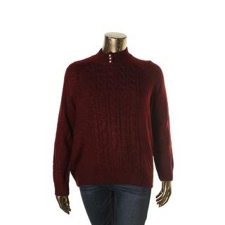 Karen Scott Womens Plus Pullover Sweater Turtleneck Pearl Button