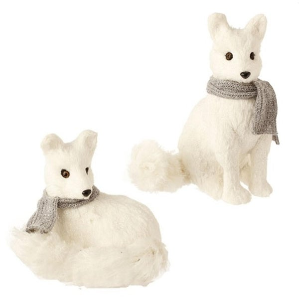 """12"""" Snowy Time Glittered Laying White Fox Christmas Table Top Decoration"""