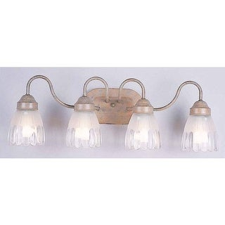 """Volume Lighting V1614 4 Light 25.5"""" Width Bathroom Vanity Light with Clear / Frosted Pattern Glass Bell Shade"""