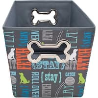 "Fabric Pet Toy Bin 14.5""X10.75""X10""-Word Play"
