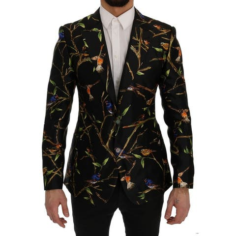 Dolce & Gabbana Black Bird Print Silk Slim Fit Blazer Men's Jacket