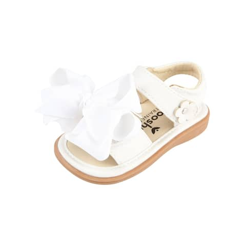 Mooshu Trainers Little Girls White Squeaky Cute Bow Strap Sandals