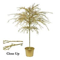 """46"""" Gold Crystallized Glitter Potted Holiday Tree - Mirrors & Beads - YELLOW"""
