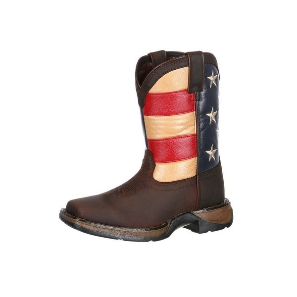 35bdd25156b Shop Durango Western Boot Boys Kids Rebel USA Flag Square Toe Brown ...