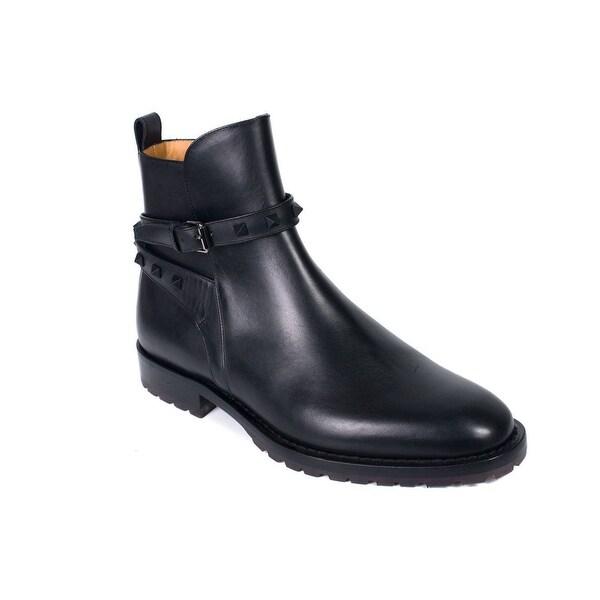 0209dfd106d Shop Valentino Men's Black Leather Rockstud Strap Ankle Boots ...