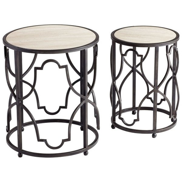 Cyan Design Gatsby Tables Gatsby 18.5 Inch Diameter Iron and Marble Nesting Table