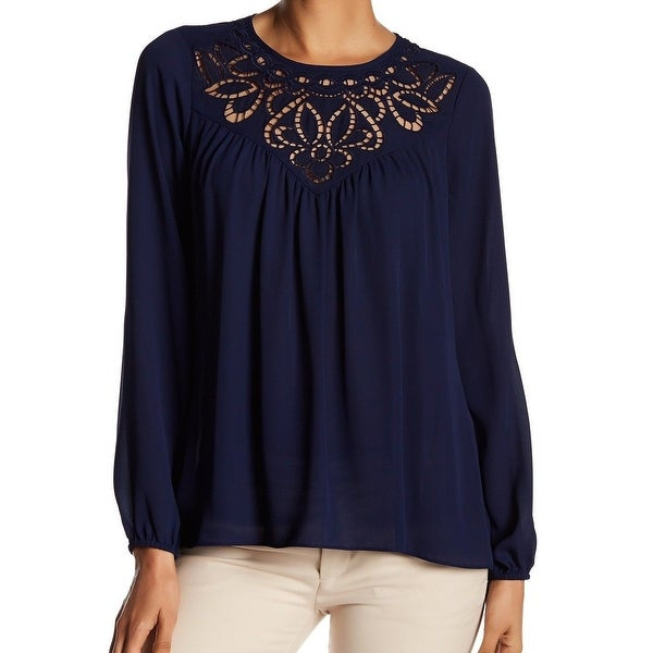 Parker Navy Women's Embroidered Cutout Top Blouse