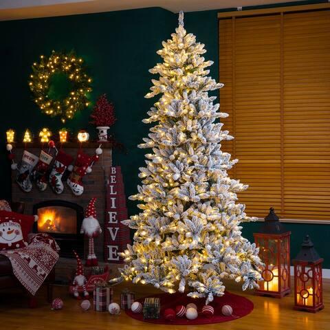 Glitzhome Snow Flocked Pre-lit Fir Christmas Tree