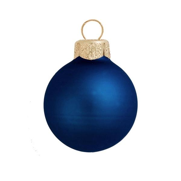 "40ct Matte Midnight Blue Glass Ball Christmas Ornaments 1.5"" (40mm)"