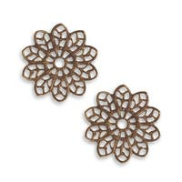 Vintaj Natural Brass Fastenables Filigree Flower Stamping 20mm (2)