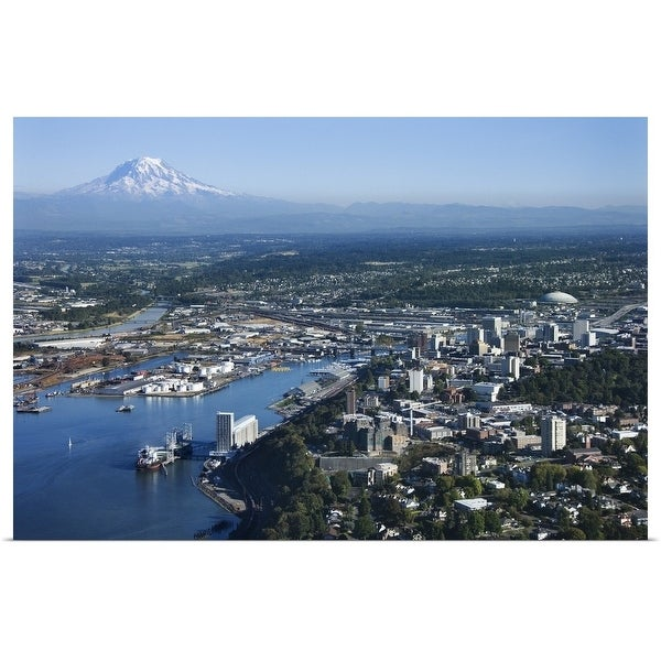 """""""Aerial view of Tacoma and Mount Rainier, Washington State"""" Poster Print"""