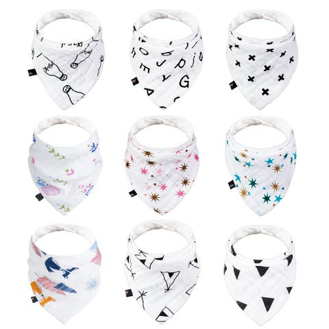 """9 Pack Cotton Baby Bandana Drool Bibs for Teething and Drooling - 14""""X7.9"""""""