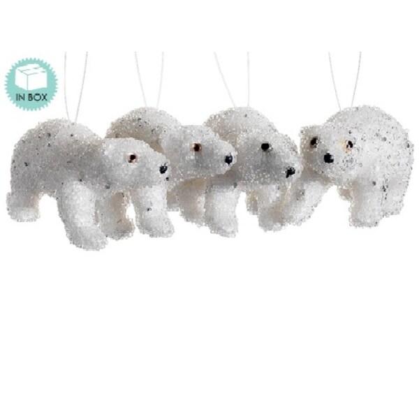 Set of 4 Snow Drift Winter White Jeweled Polar Bear Christmas Ornaments