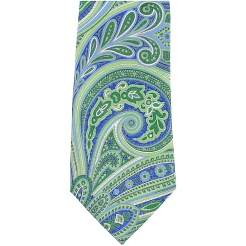 Geoffrey Beene Mens Paisley Dreams Necktie, Green, One Size - One Size