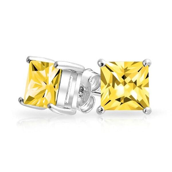 e754e6c69 1 CTW Canary Yellow Square Stud Earrings Cubic Zirconia Princess Cut  Imitation Topaz Basket Set CZ