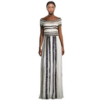 Zuhair Murad Sequin Embroidered Striped Off Shoulder Evening Gown Dress Black/White Multi - 6