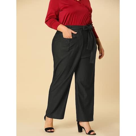Women's Plus Size High Waist Loose Wide Leg Pants with Pockets - Black