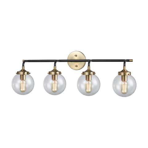 Boudreaux 4-Light Vanity Lamp in Matte Black and Antique Gold with Sphere-shaped Glass
