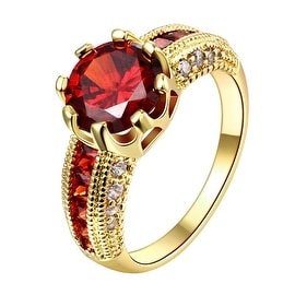 Ruby Cluster Gold Classical Ring