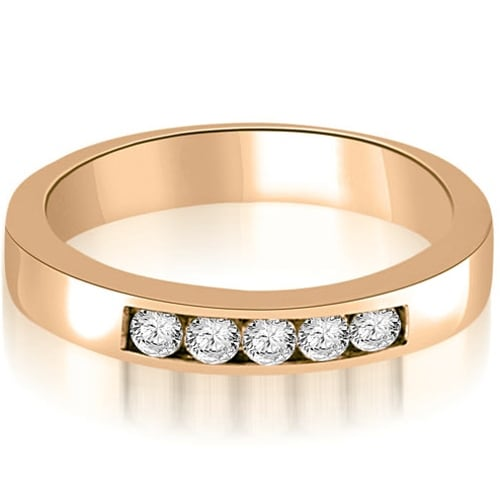 0.50 cttw. 14K Rose Gold Round Diamond 5-Stone Channel Wedding Band
