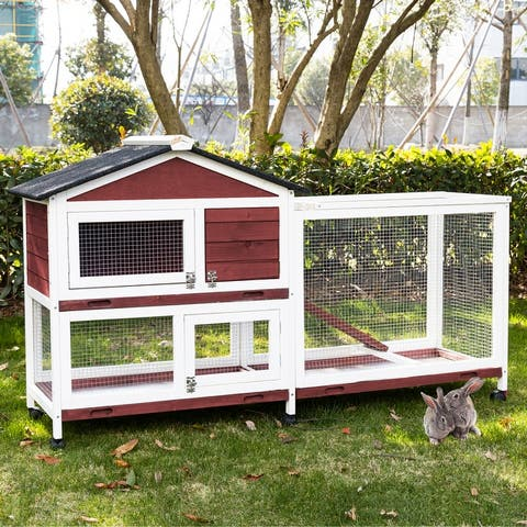 Kinpaw Large Rabbit Hutch, Indoor and Outdoor Bunny Cage on Wheels, Chicken Coop Guinea Pig House, Waterproof Roof