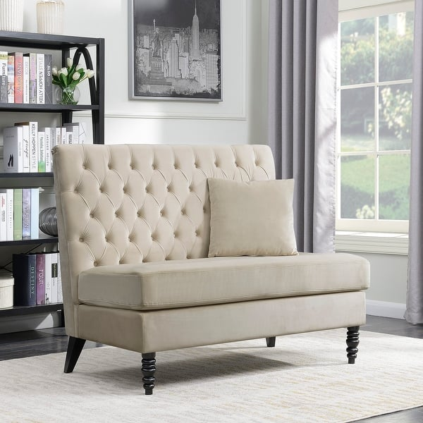 Belleze Modern Loveseat Bench Cushion Sofa Tufted Settee High-Back Love  Seat Bedroom, Beige