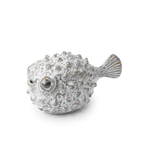 "Mercana Spike I (7.5""L) ceraic puffer fish n white, blue and gold - 7.5L x 4.3W x 4.5H"