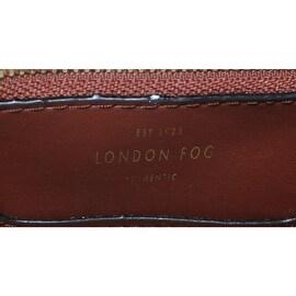 London Fog Womens Turner Faux Leather Shopper Tote Handbag - amber ostrich - Large