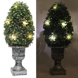 "Kanstar 16"" Decorative Green Artificial Topiary Boxwood Tree Plant in Plastic Pot w/10LED Lights"
