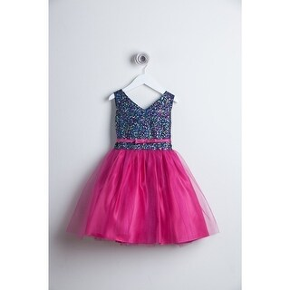 Sweet Kids Fuchsia Sequin Tulle Special Occasion Dress Girls 4-16 (2 options available)